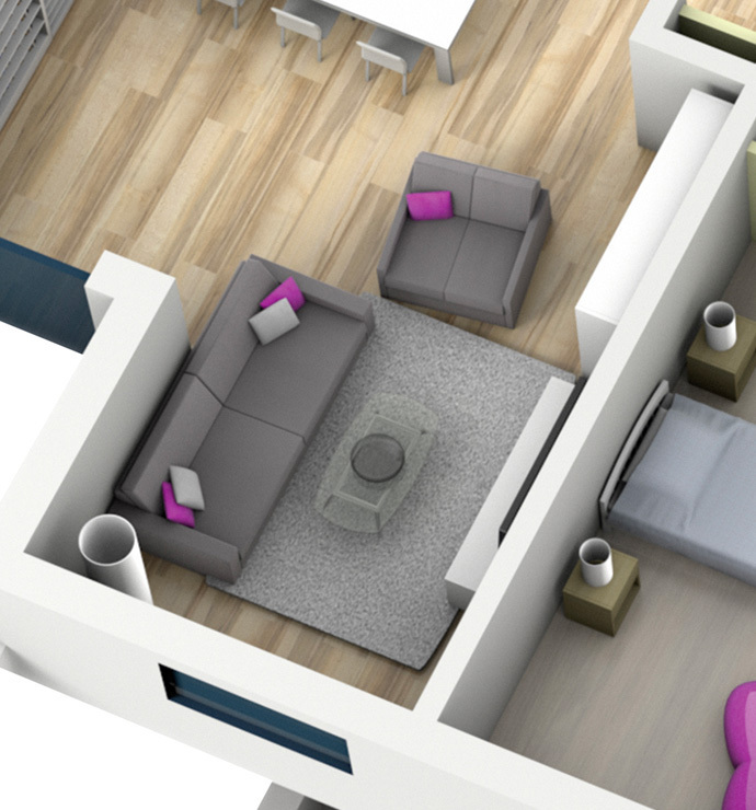 Área privada: salão